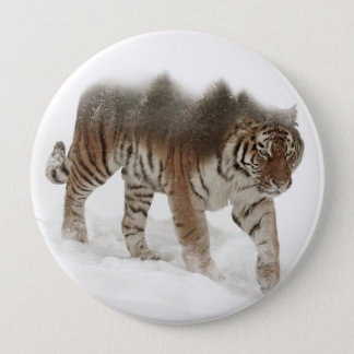 Siberian tiger-Tiger-double exposure-wildlife 4 Inch Round Button