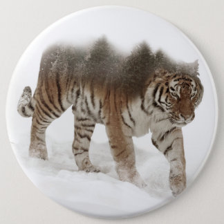 Siberian tiger-Tiger-double exposure-wildlife 6 Inch Round Button