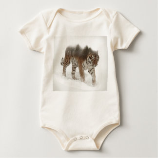 Siberian tiger-Tiger-double exposure-wildlife Baby Bodysuit