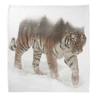 Siberian tiger-Tiger-double exposure-wildlife Bandana