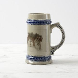 Siberian tiger-Tiger-double exposure-wildlife Beer Stein