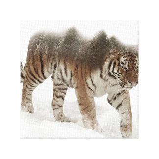 Siberian tiger-Tiger-double exposure-wildlife Canvas Print