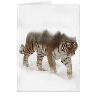 Siberian tiger-Tiger-double exposure-wildlife Card