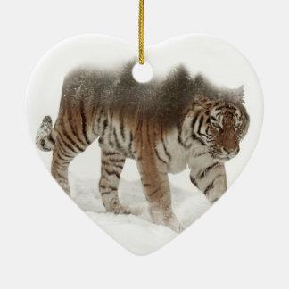Siberian tiger-Tiger-double exposure-wildlife Ceramic Ornament