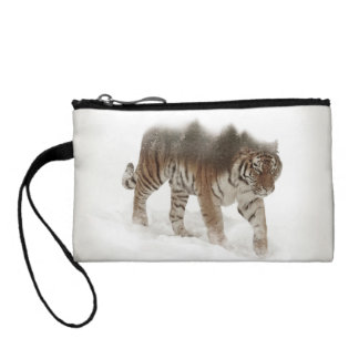 Siberian tiger-Tiger-double exposure-wildlife Coin Purse