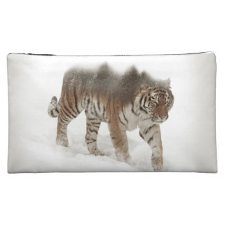 Siberian tiger-Tiger-double exposure-wildlife Cosmetic Bag