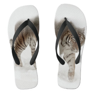 Siberian tiger-Tiger-double exposure-wildlife Flip Flops