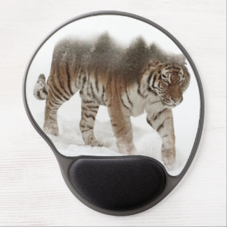 Siberian tiger-Tiger-double exposure-wildlife Gel Mouse Pad
