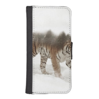 Siberian tiger-Tiger-double exposure-wildlife iPhone SE/5/5s Wallet Case