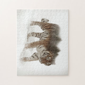 Siberian tiger-Tiger-double exposure-wildlife Jigsaw Puzzle