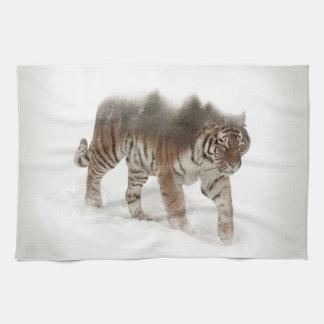 Siberian tiger-Tiger-double exposure-wildlife Kitchen Towel