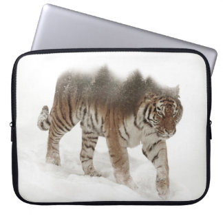 Siberian tiger-Tiger-double exposure-wildlife Laptop Sleeve