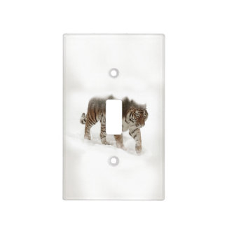 Siberian tiger-Tiger-double exposure-wildlife Light Switch Cover