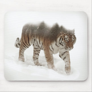 Siberian tiger-Tiger-double exposure-wildlife Mouse Pad
