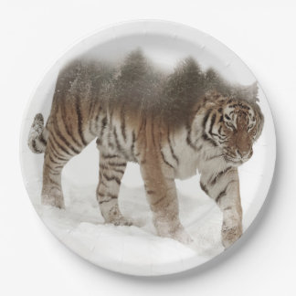 Siberian tiger-Tiger-double exposure-wildlife Paper Plate
