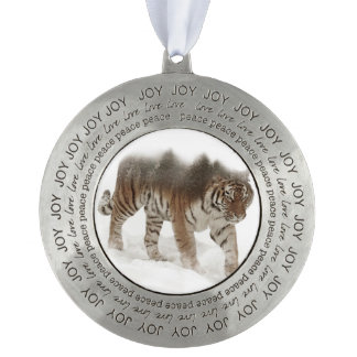 Siberian tiger-Tiger-double exposure-wildlife Pewter Ornament