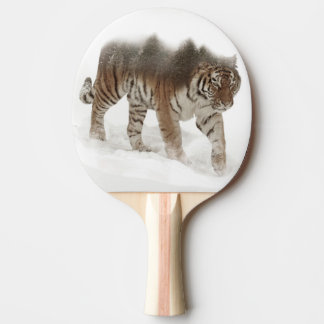 Siberian tiger-Tiger-double exposure-wildlife Ping Pong Paddle