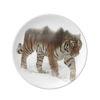 Siberian tiger-Tiger-double exposure-wildlife Plate