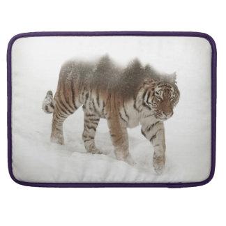 Siberian tiger-Tiger-double exposure-wildlife Sleeve For MacBooks