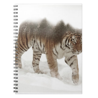 Siberian tiger-Tiger-double exposure-wildlife Spiral Notebook