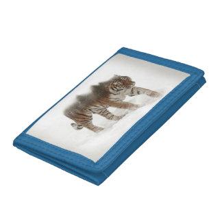 Siberian tiger-Tiger-double exposure-wildlife Tri-fold Wallet