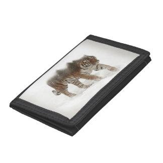 Siberian tiger-Tiger-double exposure-wildlife Tri-fold Wallets