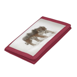 Siberian tiger-Tiger-double exposure-wildlife Trifold Wallet