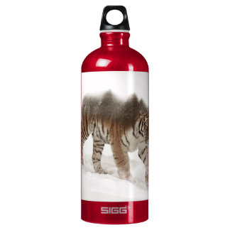 Siberian tiger-Tiger-double exposure-wildlife Water Bottle