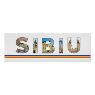 sibiu city romania landmark inside text symbol tra poster