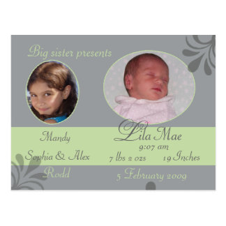 Sibling announcing new baby postcard