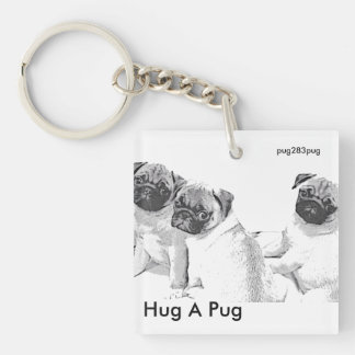 Siblings pug Double-Sided square acrylic keychain