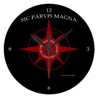 Sic Parvis Magna Black Clock