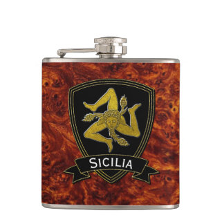 Sicilian Trinacria Black & Gold Flasks