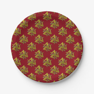 Sicilian Trinacria Gold Your Background Color 7 Inch Paper Plate