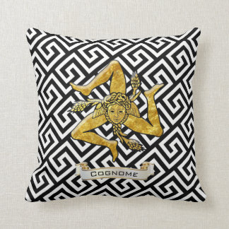 Sicilian Trinacria Greek Key Personalize Throw Pillow