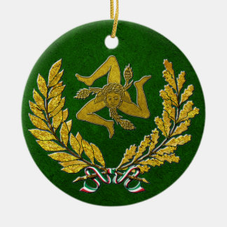 Sicilian Trinacria Heirloom in Gold on Green Ceramic Ornament