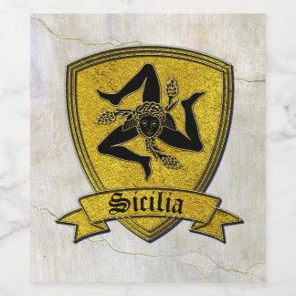 Sicilian Trinacria in Gold  Black Fresco Wine Label