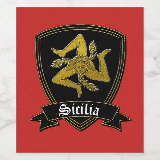 Sicilian Trinacria in Gold & Black Wine Label