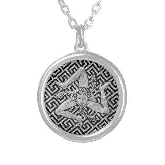 Sicilian Trinacria in Silver Silver Plated Necklace
