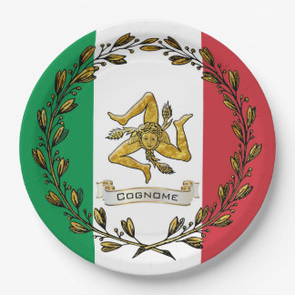 Sicilian Trinacria Olive Wreath Flag Personalize Paper Plate