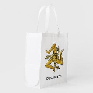 Sicilian Trinacria Personalize Reusable Grocery Bag