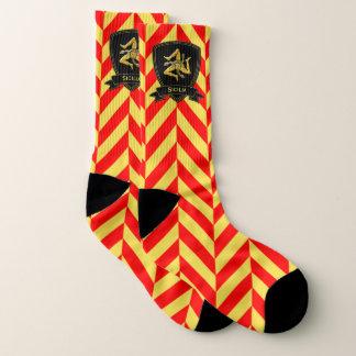Sicilian Trinacria Red and Yellow Chevron Pattern Socks