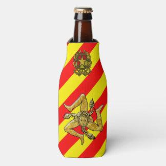 Sicilian Trinacria Red Yellow Stripe Bottle Cooler