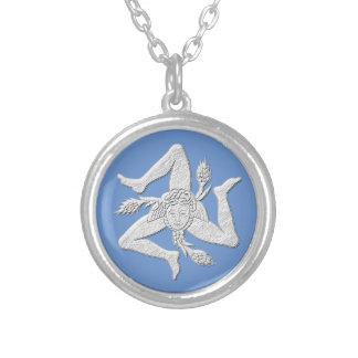 Sicilian Trinacria White Personalize Silver Plated Necklace