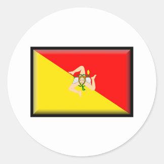 Sicily Flag Classic Round Sticker