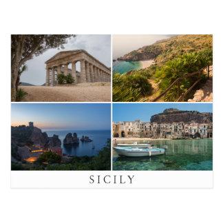 Sicily landscapes in collage souvenir postcard