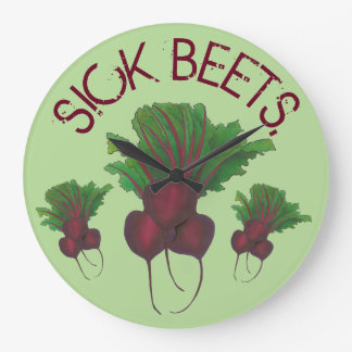 Sick Beets (Beats) Red Beet Vegetarian Funny Food Large Clock