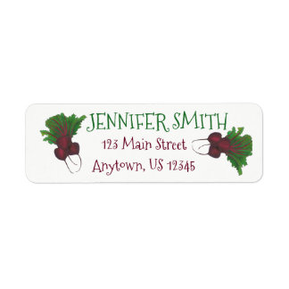Sick Beets (Beats) Red Beet Vegetarian Funny Food Return Address Label