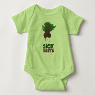 Sick Beets (Beats) Red Beetroot Bunch Veggie Vegan Baby Bodysuit