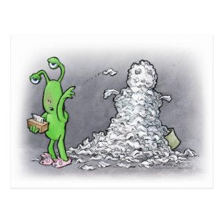 sick day snowman postcard